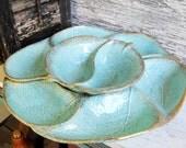 Vintage Large Mid Century Danish Modern California Originals USA Pottery Figural Leaf #725 Relish Hors D Oeuvres Serving Platter Dish Bowl
