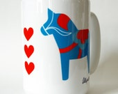 Retro Dala Horse and Hearts Swedish Printed Mug in Orange and Turquoise
