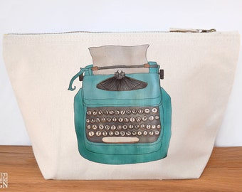 Typewriter Canvas Wash Bag, Large Zipper Pouch, Makeup Bag, Toiletry Bag, Accessory Bag