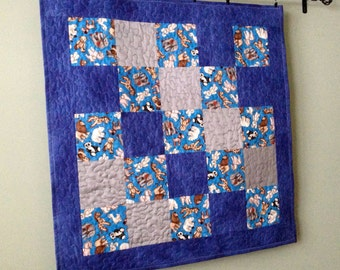 Custom Baby BoyQuilt using Bridesmaid Dress Fabric, Repurposed, Memory, Upcycled - Bears