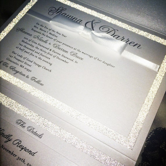 Glitter Pocket Wedding Invitation Silver