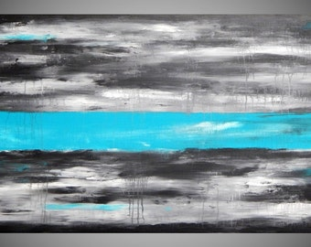 Turquoise Wall Art Deco Abstract Landscape Acrylic Painting Modern Large Canvas Art 48 x 24 Ready to Hang Free Shipping by ilonka