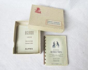 2 vintage little french datebooks, Diary 1959, Agendas, Paper ephemera, France