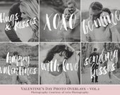Valentine's Day vol.1 - photo overlays; love phrases;  psd, png files; gold, glitter, white