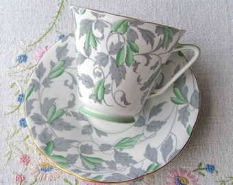 Art Deco style Royal Grafton bone china tea set in green Ashley pattern