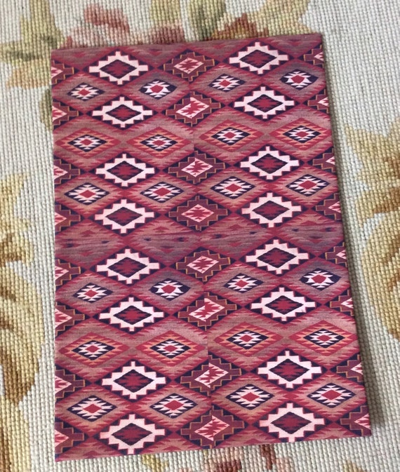 Floor Cloth American Indian Navajo Rug in Red Pattern - by Pat Tyler Leather Dollhouse Miniatures