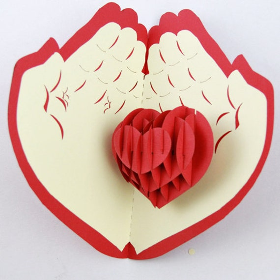 Heart in Hand love cards Valentine card pop up card 3d by Bielyse – 3d Valentine Cards