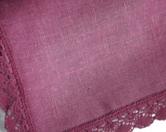 Purple  linen table runner washed linen vintage style runner with lace dining decor