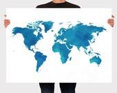 World Map Poster Art Print Watercolor, Room Decor, Wall Hanging, Travel World Map, Art - Large - Medium