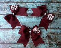 Glitter Monogram Cheer Bow, Custom cheer bows, Monogrammed Gifts, Team Bows, Cheerleaders bows, Maroon cheer bow, Cheer Camp Bows