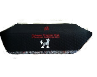 18 x 30 inch Custom Embroidered Grooming table covers