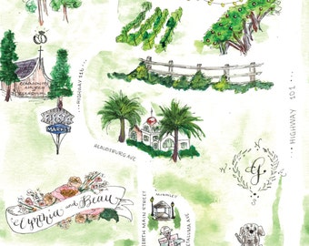 Watercolor Wedding Map with Custom Illustrations for Wedding Weekend Map