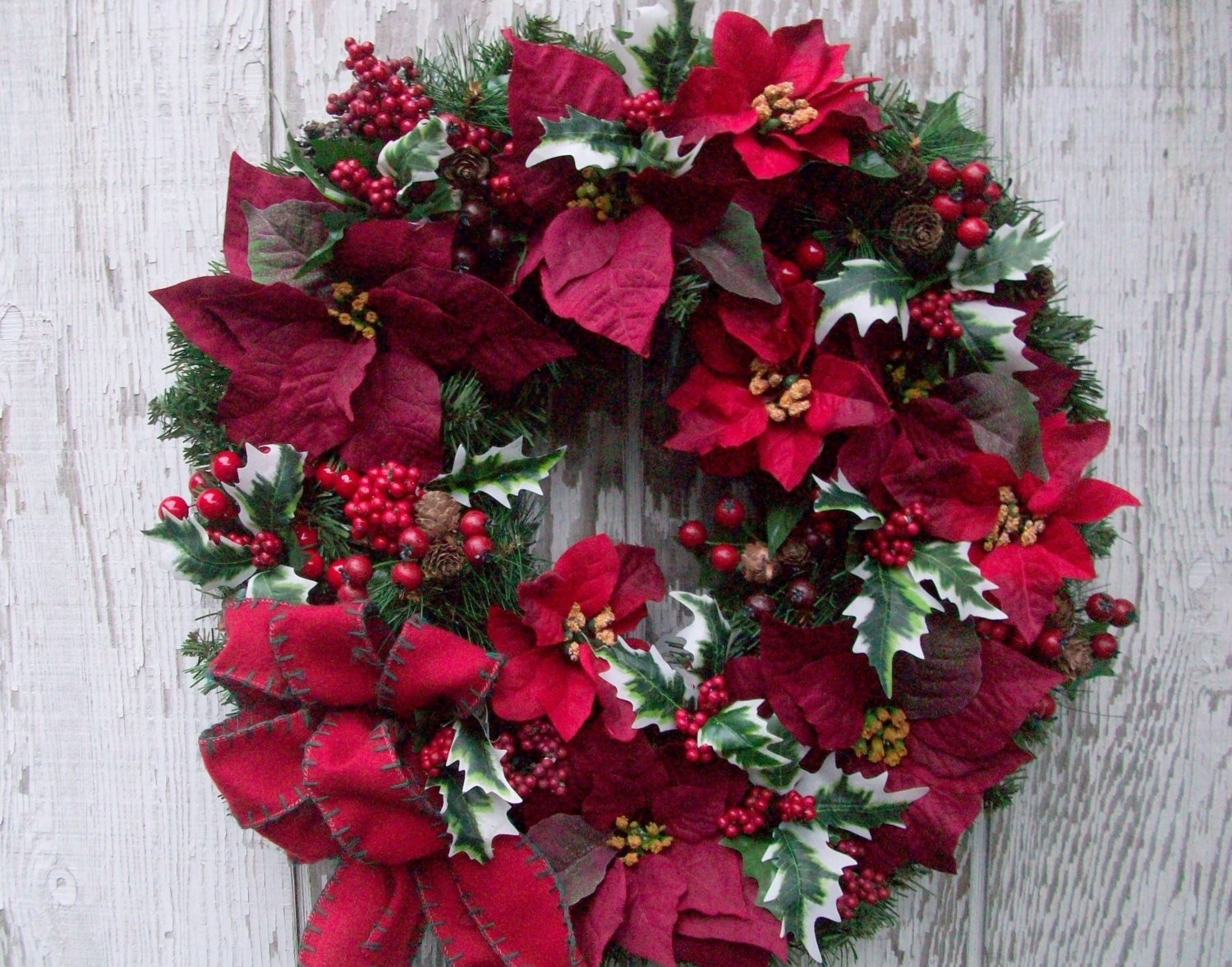 Christmas poinsettias decor the image for 5ft poinsettia garland christmas decoration