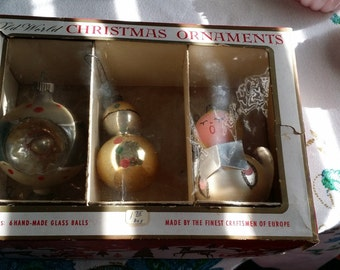 Vintage Glass Christmas Tree Ornaments  - Set of 3