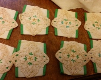 Vintage Handmade Napkin Rings with Button Closure and Crochet Detailing - Set of Eight