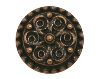 3 Floral Points 3/4 inch ( 19 mm ) Metal Buttons Antique Brass Color