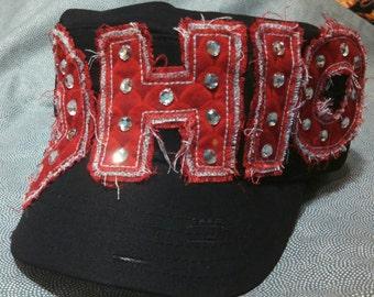 Frayed Ohio State football Cadet black Military hat Womens
