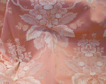 Upholstery Jacquard, Damask Fabric.  Rosy Peach Color, Yardage