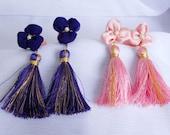 lilac purple or pink gold silky thread handmade Holly Golightly Breakfast at Tiffanys inspired lucky clover tassel ear plug