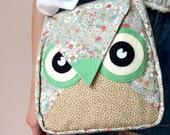 Fairy: Flip Bag, Owl Bag, flower, messenger bag, tote, animal, women, kid bag, children bag, fabric bag, girl bag, boy bag, green, flowery