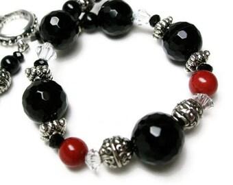 Black and Red Bracelet gemstone bead bracelet handmade onyx jewelry Onyx bracelet gift for her Birthday Mothers Day gift womens bracelet