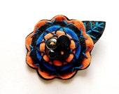 Felt Flower Pin Brooch for Women Jewelry Re-purposed Orange Black Blue
