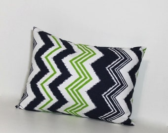 Navy and green Chevron accent pillow.  All sizes. Lumbar pillow cover. zigzag design pillow cover home decor linen like