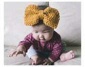 BABY KNIT HEADBAND  Baby Girl with Big Bow Knitted Head Band Earwarmer, Toddler Knit Headband, Baby Girl Bow Headband