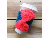 KNIT CUP COZY - Hand Knit Cup Cozy in Teal with Neon Coral Knit Bow, Mug Sleeve, Knitted Mug Cozy, Reusable cup sleeve