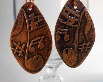 READY to SHIP Music Notes Handmade Copper Earrings CPE94
