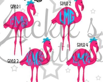 Flamingo Monogram Decal