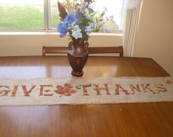 "12"" Wide Rustic Thanksgiving Burlap Table Runner"
