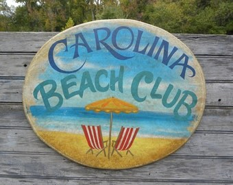 Carolina Beach Club  Sign ,wood  original  ZD CB1