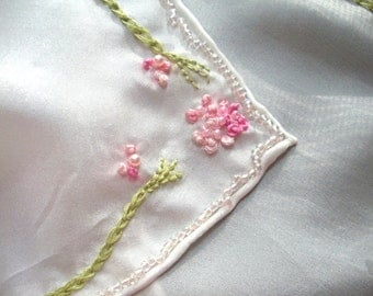 REDUCED, White Silk Scarf, Veil or Table Topper, Pink and Green Hand Embroidery, Pure Silk, Hand Beaded, Spring Inspired, Perfect Gift