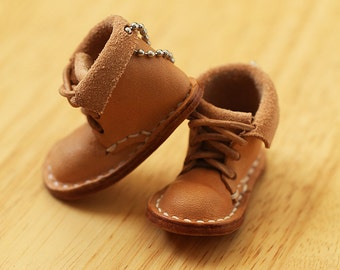 100% Hand-stitched Vegetable Tanned Leather Cute Boot Keychain Accessory