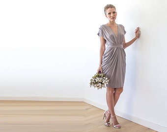 Bridesmaids taupe midi formal dress, Knee length taupe dress