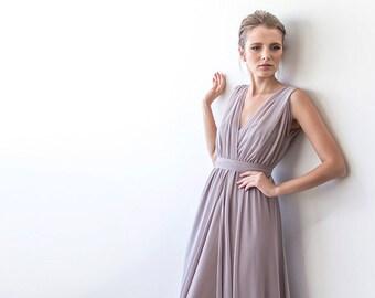 Taupe maxi sheer chiffon dress, 2 in one chiffon short sleeves 1090