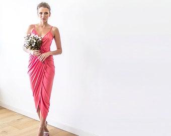 Wrap maxi coral bridesmaids sexy gown, Maxi strap coral dress 1033
