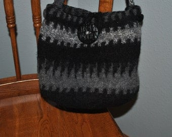 SOLD Black and gray felted knit purse