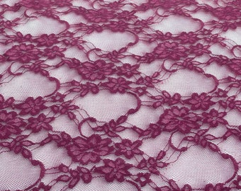 Giselle Stretch Floral Lace Wine 58 Inch Wide Fabric by the Yard, 1 yard