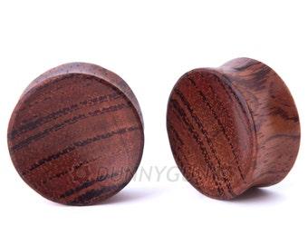 """1"""" Pair Red Zebra Wood Concave Plugs - Dunnygun Body Piercing Jewelry Gauge Earrings"""
