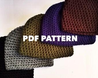 One Hour Mens Beanie Crochet Pattern- Bulky Mens Beanie Hat Pattern- Quick and Easy Crochet Beanie Pattern for Men- Instant Download