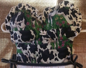 Strapless Cow Motif Black and White Kitchen Oven Door Dish Towel Dress
