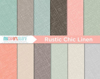 Digital Paper - Hand Drawn Rustic Chic Linen Texture - Instant Download