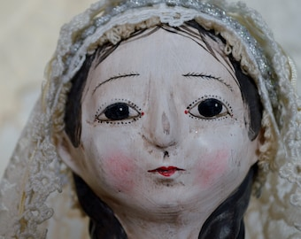 "18"" Paper clay and wood Virgin Mary Santos doll"