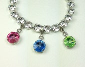 Swarovski Crystal 12mm Birthstone  Add - On Charm -  Your Choice of Month & Setting Finish - Designer Inspired - FREE SHIPPING