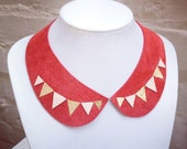 Geometric collar necklace with triangle bunting design - cream and gold on red suede -upcycled handmade leather jewellery by DustyDoes