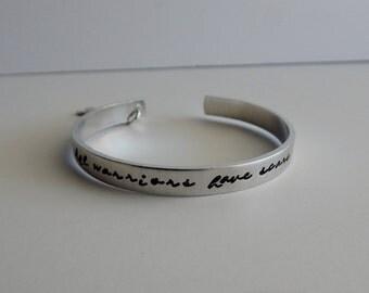 """Hand Stamped """"All warriors have scars"""" Bracelet- Cancer Awareness - Survivor"""