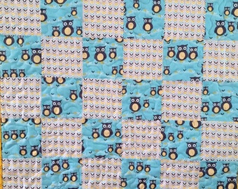 Modern Owls All Over Baby Quilt