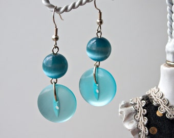 Turquoise button and glass bead dangle earrings